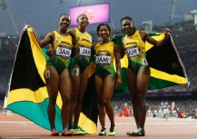 Silver medalists in the Olympics 4x100m relay, Jamaica!