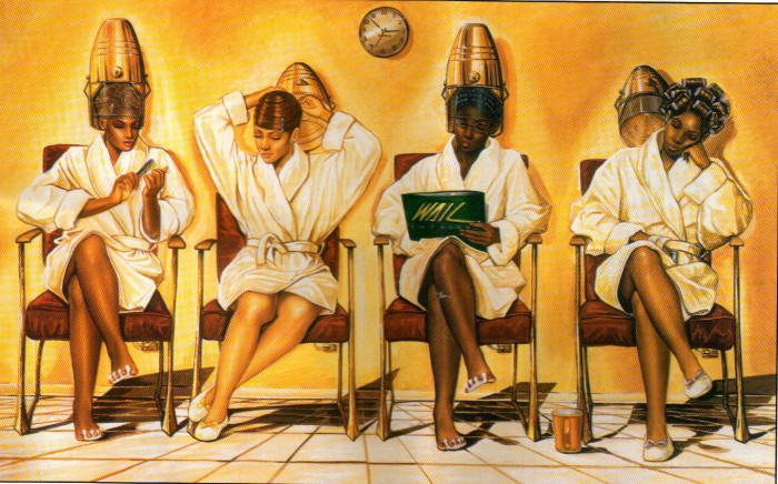 Black women under the dryer - painting