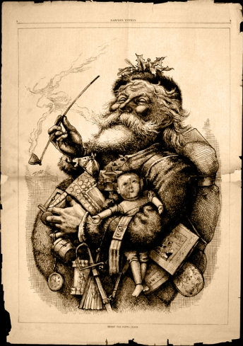 "Thomas Nast's most famous drawing, ""Merry Old Santa Claus"", from the January 1, 1881 edition of Harper's Weekly"