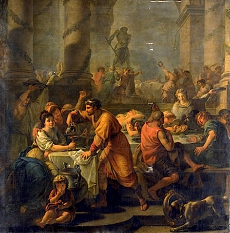 Saturnalia  by Antoine-Francois Callet (1741-1823). Oil on canvas. Musée du Louvre, Paris, France.