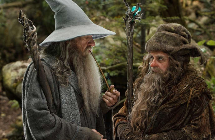 "Gandalf and Radagast (The Hobbit) doing a bit of ""reasoning"". What's in that pipe anyway?"